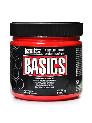 Liquitex Basics Acrylics Colors, Naphthol Crimson, 32oz Jar (84133)