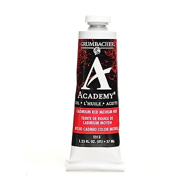 Grumbacher Academy Oil Paint, Cadmium Red, Medium Hue, 1.25oz tube, 3/Pack (10779-PK3)