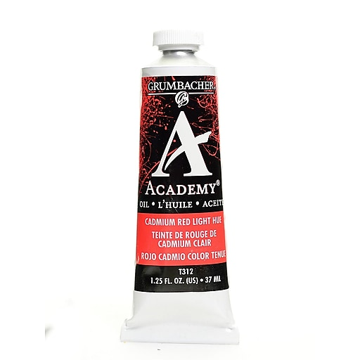 Grumbacher Academy Oil Paint, Cadmium Red Light Hue, 1.25 oz. tube [Pack of 3]