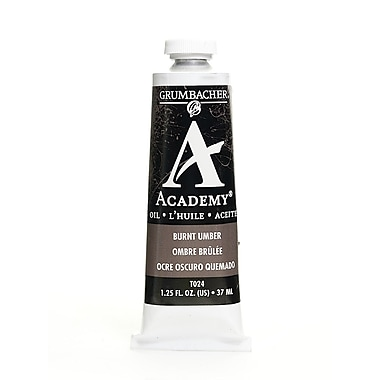 Grumbacher Academy Oil Paint, Burnt Umber, 1.25 oz. tube [Pack of 3]