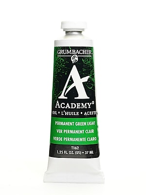 Grumbacher Academy Oil Paint, Permanent Green Light, 1.25 oz. tube [Pack of 3]