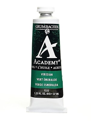 Grumbacher Academy Oil Paint, Viridian Hue, 1.25 oz. tube [Pack of 3]