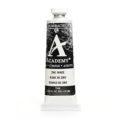 Grumbacher Academy Oil Paint, Zinc White, 1.25 oz. tube [Pack of 3]