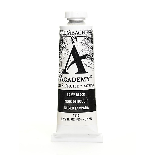 Grumbacher Academy Oil Paint, Lamp Black, 1.25 oz. tube [Pack of 3]