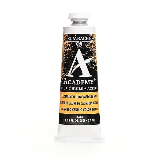 Grumbacher Academy Oil Paint, Cadmium Yellow Medium Hue, 1.25 oz. tube [Pack of 3]
