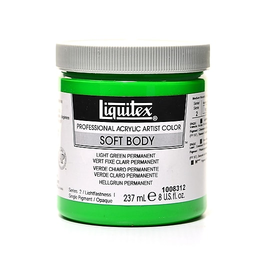 Liquitex Soft Body Professional Artist Acrylic Colors permanent green light  8 oz