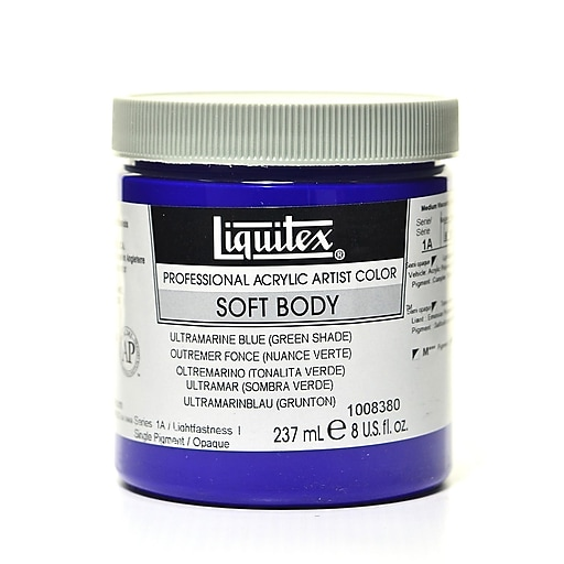Liquitex Soft Body Professional Artist Acrylic Colors, Ultramarine Blue (Green Shade), 8oz (85780)