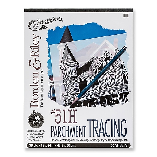 Borden and Riley #51H Parchment Tracing Paper 19 in  x 24 in  pad of 50