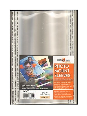 Lineco Photo Mounting Sleeves 5 in. x 7 in. pack of 25