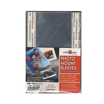"""Lineco Photo Mounting Sleeves, 4"""" X 6"""" (66061)"""