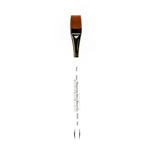 "Princeton Series 4350 Synthetic Watercolor and Acrylic Brushes, 3/4"" Square Wash (31616)"