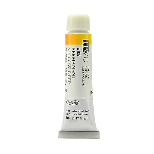 Holbein Permanent Yellow Deep Artist Watercolor, 5ml, 2/Pack (97123-PK2)
