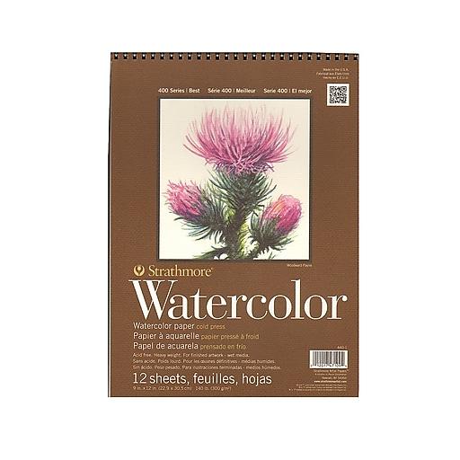 "Strathmore 400 Series Watercolor Pad, 9"" x 12"", Spiral Pad, 3/Pack (42522-PK3)"