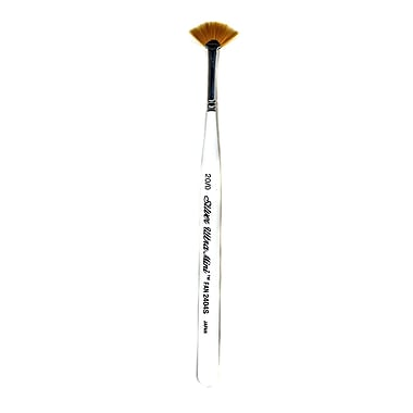 Silver Brush Ultra Mini Series Golden Taklon Brushes, 20/0, Fan (50385)