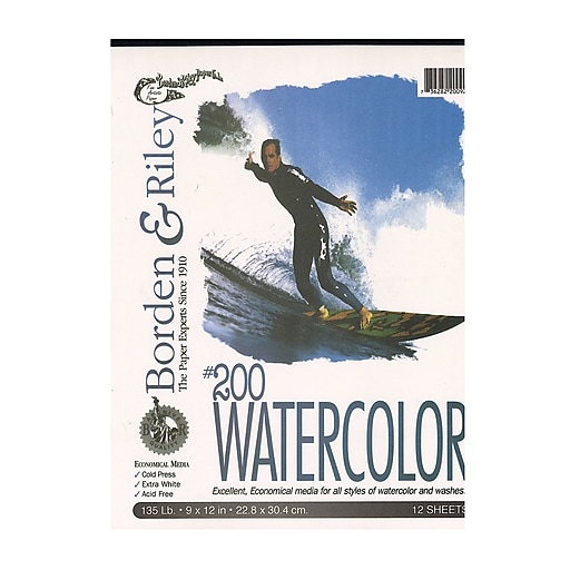 """Borden and Riley #200 Studio Watercolor Pads, 9"""" x 12"""", 12 Sheets, 3/Pack (28878-PK3)"""