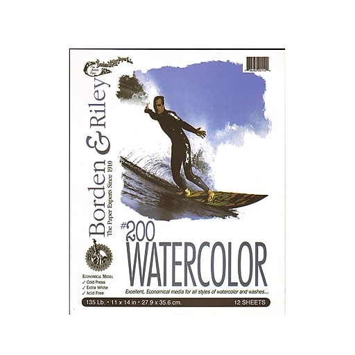 """Borden and Riley #200 Studio Watercolor Pads, 11"""" x 14"""", 12 Sheets, 2/Pack (52468-PK2)"""
