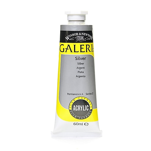 Winsor and Newton Galeria Flow Formula Silver 617 Acrylic Colour, 60ml, 3/Pack (14195-PK3)