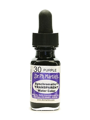 Dr. Ph. Martin's Synchromatic Transparent Watercolors, 1/2oz, Purple, 3/Pack (33070-PK3)