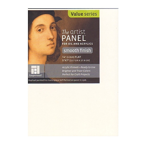 Ampersand The Artist Panel 5in x 7in 1/8in Primed Smooth Flat Profile, 10/Pack (60834-PK10)