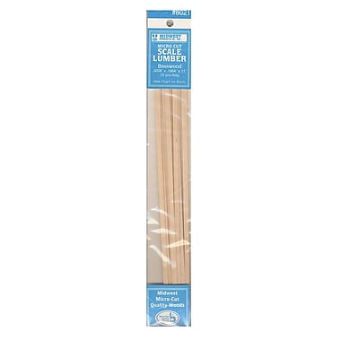 Midwest Micro-Cut Basswood Scale Lumber 0.021 in. 0.166 in. x 11 in. pack of 15 [Pack of 4]
