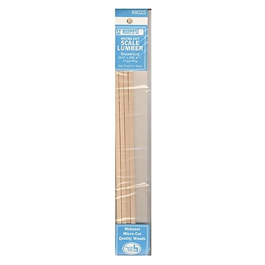 Midwest 65476-PK4 Micro-Cut Basswood Scale Lumber, 0.042