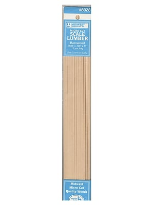 Midwest Micro-Cut Basswood Scale Lumber 0.083 In. 0.125 In. X 11 In. Pack Of 12 [Pack Of 4]