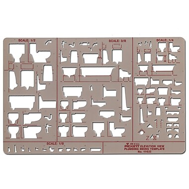 Chartpak Plumbing Drafting Template, Elevation View 1/8 in. = 1 ft.