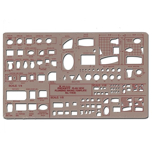 Chartpak Plumbing Drafting Template, Plan View 1/8 in. = 1 ft.