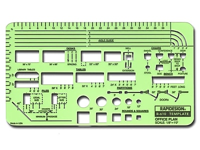 Rapidesign Interior Drafting and Design Templates office plan layout 1/8 in. = 1 ft.