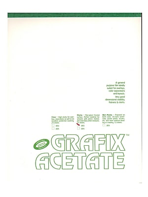 Grafix Matte Acetate Film Pads 0.003 14 in. x 17 in. pad of 25