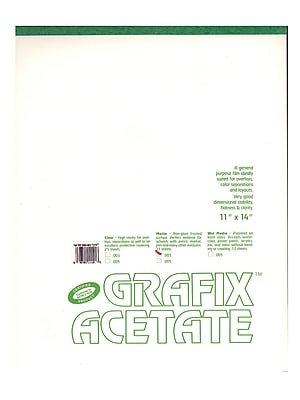 Grafix Matte Acetate Film Pads 0.003 11 in. x 14 in. pad of 25