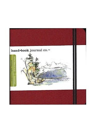 Hand Book Journal Co. Travelogue Drawing Journals 5 1/2 in. x 5 1/2 in. square vermilion red