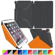rOOCASE Origami Polyurethane 3D Slim Shell Folio Smart Case Cover for iPad Mini 3/2/1, Space Gray/Orange