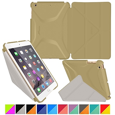 rOOCASE Origami Polyurethane 3D Slim Shell Folio Smart Case Cover for iPad Mini 3/2/1, Champagne Gold/Cool Gray
