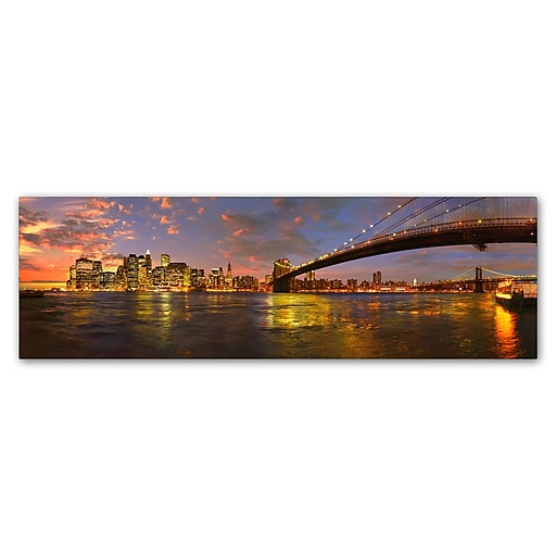 Trademark Fine Art John Xiong 'Bridge into Manhattan'  8 x 24 (ALI0657-C824GG)