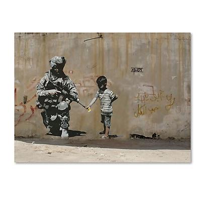 Trademark Fine Art Banksy 'Peace' 24 x 32 (ALI0809-C2432GG)