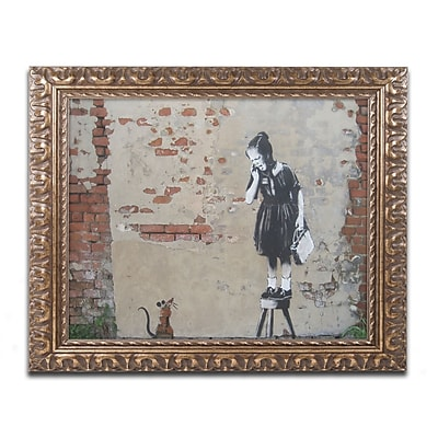 Trademark Global Banksy 'Ratgirl' Ornate Framed Art, 16