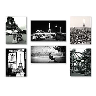 Trademark Fine Art Paris Wall Collection 14 x 24 (WC0004-SET-6)