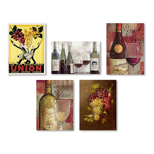 Trademark Fine Art Wine Wall Collection 14 x 19 (WC0007-SET-5)