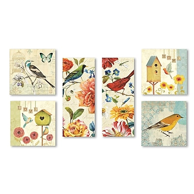 Trademark Fine Art Wild Birds Wall Collection 24 x 24 (WC0014-SET-6)