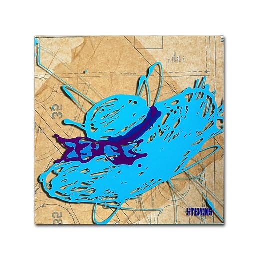 Trademark Fine Art Roderick Stevens 'Blue Floppy Purple Bow'  18 x 18 (RS977-C1818GG)