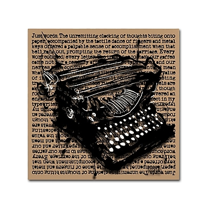 Trademark Fine Art Roderick Stevens 'Three-Quarter Typewriter' 18 x 18 (RS989-C1818GG)
