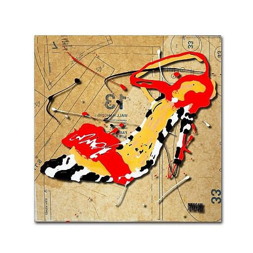 Trademark Fine Art Roderick Stevens 'Zebra Heel Red'  18 x 18 (RS992-C1818GG)