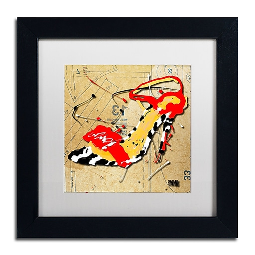 Trademark Fine Art Roderick Stevens 'Zebra Heel Red'  11 x 11 (RS992-B1111MF)