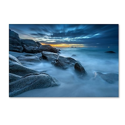 Trademark Fine Art Mathieu Rivrin 'Blue Hour for a Blue Ocean' 12 x 19 (RV0033-C1219GG)