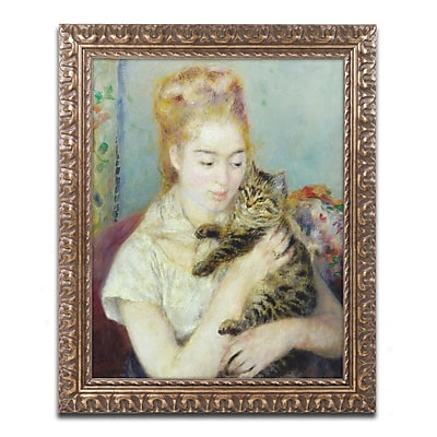 Trademark Fine Art Pierre Renoir 'Woman with a Cat 1875' 11 x 14 (BL01473-G1114F)