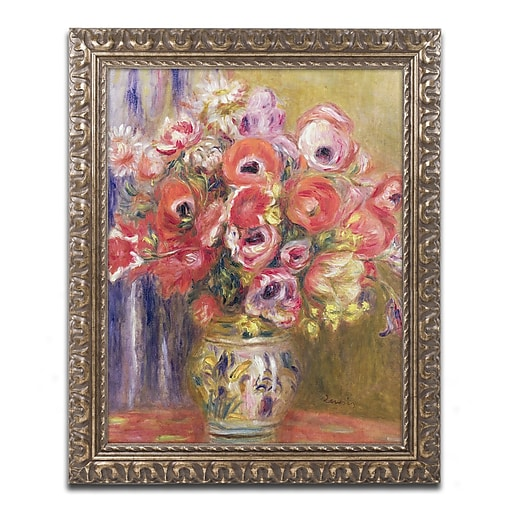 Trademark Fine Art Pierre Renoir 'Vase of Tulips and Anemones'  11 x 14 (BL0497-G1114F)