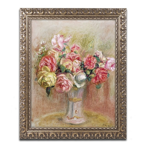 Trademark Fine Art Pierre Renoir 'Roses in a Sevres Vase'  11 x 14 (BL0503-G1114F)