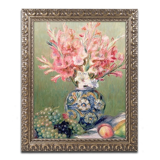 Trademark Fine Art Pierre Renoir 'Still life of Fruit and Flowers'  11 x 14 (BL0702-G1114F)