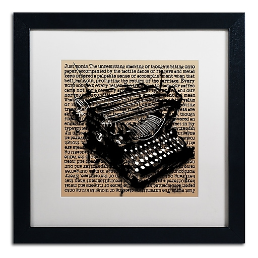 Trademark Fine Art Roderick Stevens 'Three-Quarter Typewriter'  16 x 16 (RS989-B1616MF)